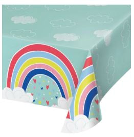 "Plastic Tablecover All Over Print, 54"" X 102"" Tc Pl Aop 6/1Ct 54X102 Over The Rainbow"