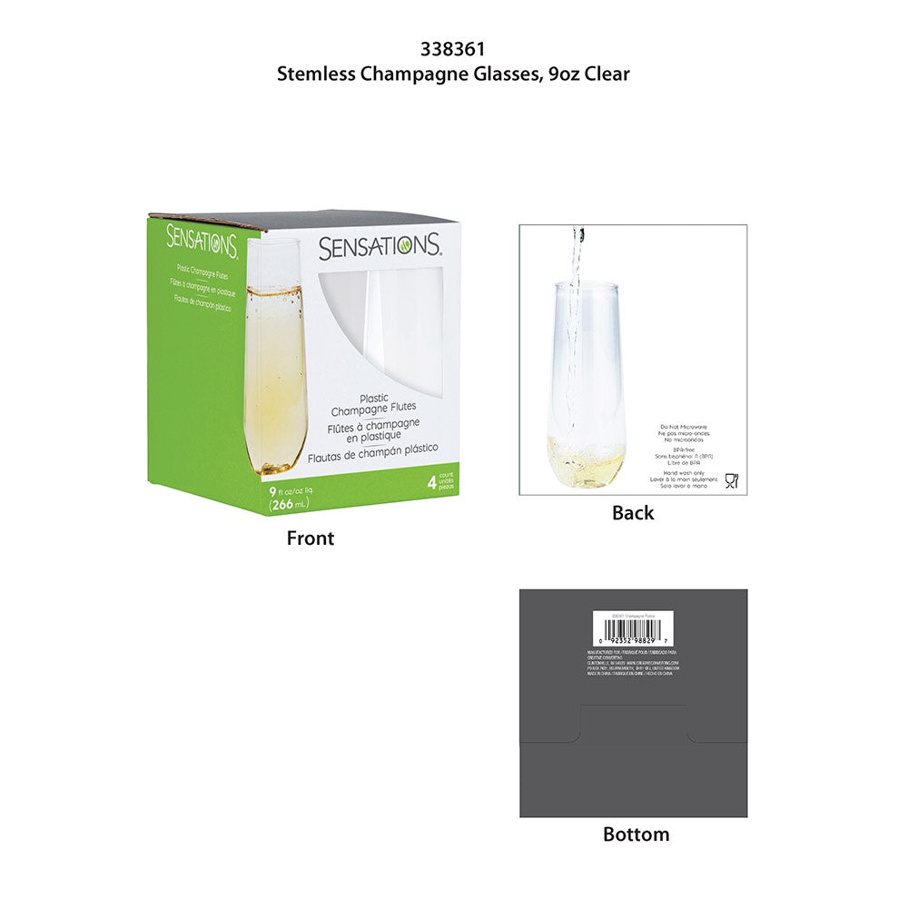 STEMLESS 9OZ 6/4CT CHAMPAGNE CLEAR