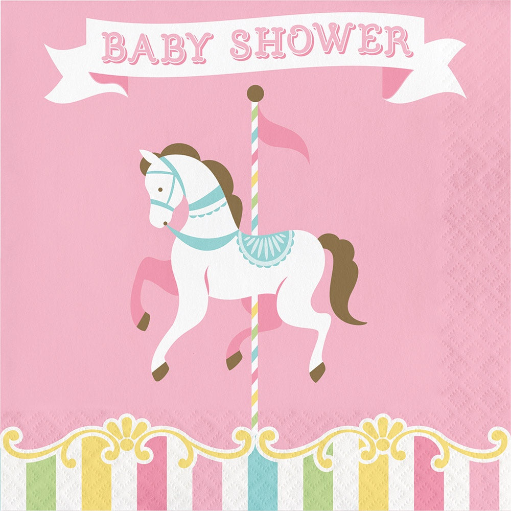 Luncheon Napkin, Baby Shower Ln 12/16Ct 2P Carousel Baby Shwr