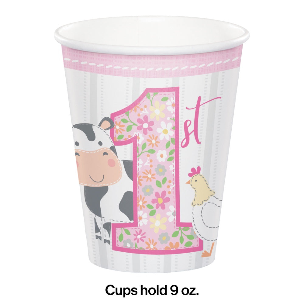 Hot/Cold Cups 9Oz. 9Cup 12/8Ct Frmhs 1St Bday Grl