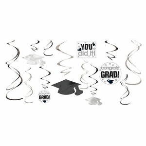 Graduation White Foil Swirl Hanging Dec