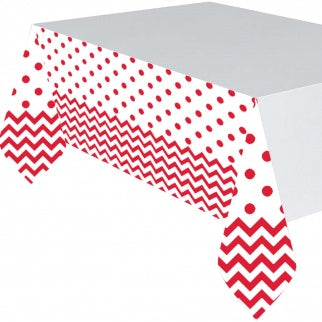 APPLE RED CHEVRON PLASTIC TABLECOVER