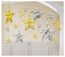 SILVER AND GOLD 3D FOIL STAR DECORATING KIT, 16PCS