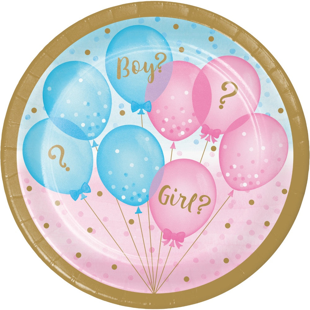 Luncheon Plate Plt7 Ss 12/8Ct Gender Reveal Balloons