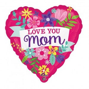 P32 Love You Mom Flowers Foil Balloon 28In