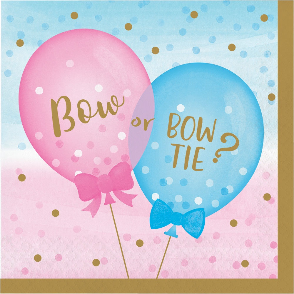 Luncheon Napkin Ln 12/16Ct 2P Gender Reveal Balloons