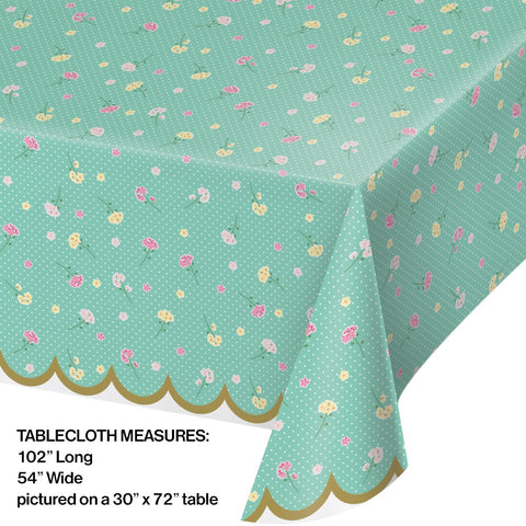 TC PL AOP 6/1CT 54X102 FLORAL TEA PARTY
