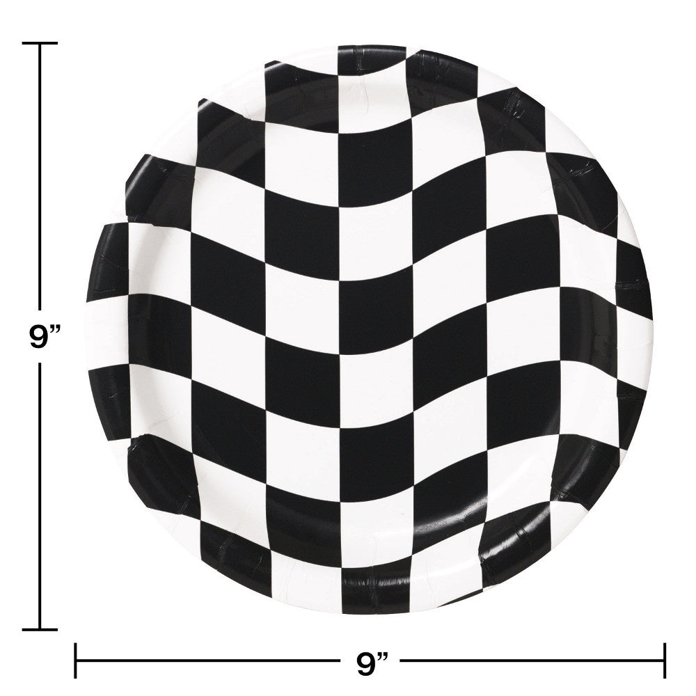 PLT9 SS 12/8CT BLACK WHITE CHECKS