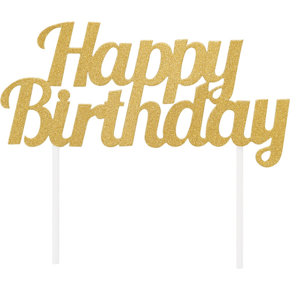CAKE TOPPER 12/1 GOLD HAPPY BIRTHDAY GLITTER