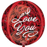 I Love You Roses Orbz Foil Balloon 16In