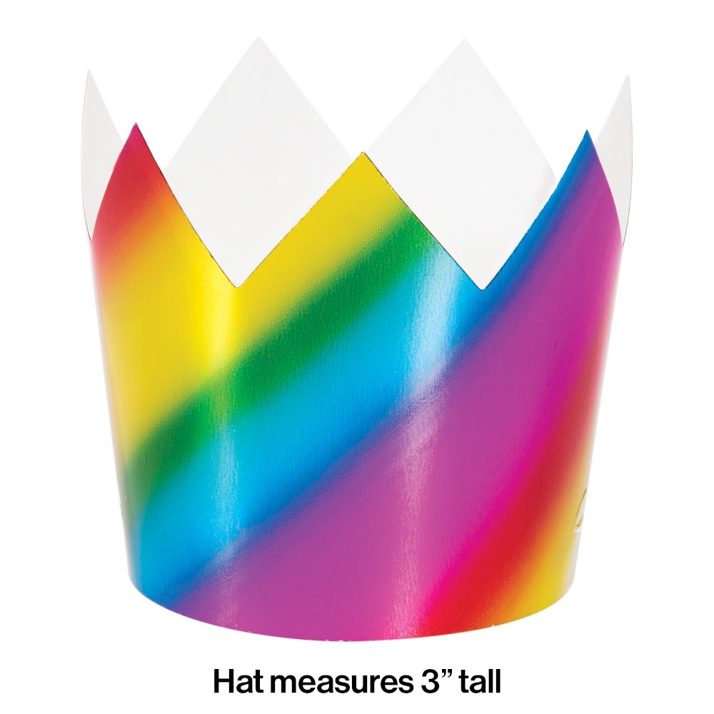 HAT CROWN 6/8CT RAINBOW FOIL