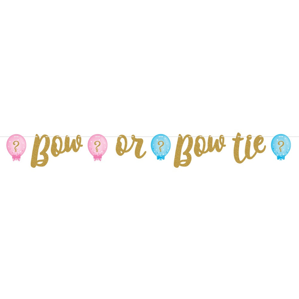 Ribbon Banner Shaped, Glitter Bnr Shp Rib 6/1Ct Gltr Gender Reveal Blns
