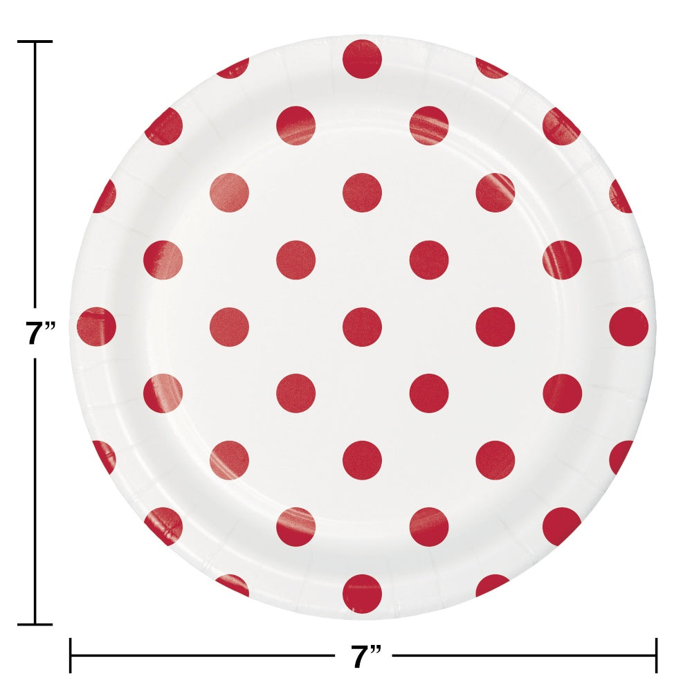 PLT7 12/8CT DOTS & STRIPES CLASSIC RED