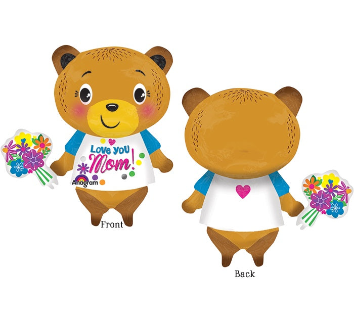 P35 Love You Bear Flowers Supershape Foil Balloon