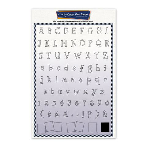 Tall Letterbox Alphabet & Numbers Outline <br/> A4 Unmounted Stamp Set#