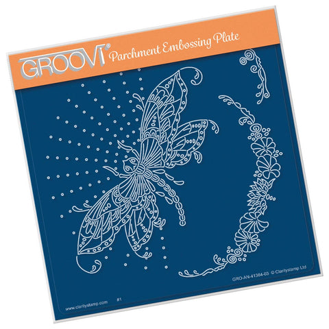 Cherry Green's Dragonfly & Pretty Flourish <br/> A5 Square Groovi Plate