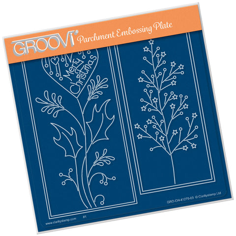 Tina's Merry Christmas Panels <br/> A5 Square Groovi Plate <br/>