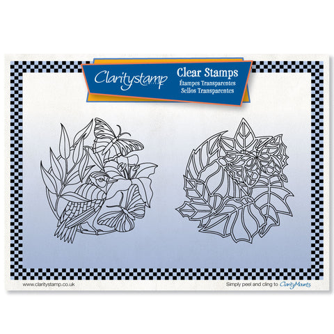 Butterfly Rounds + Mask <br/> Unmounted Clear Stamp Set