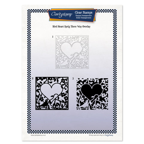 Bird Heart Sprig <br/> Three Way Overlay Unmounted Stamp Set