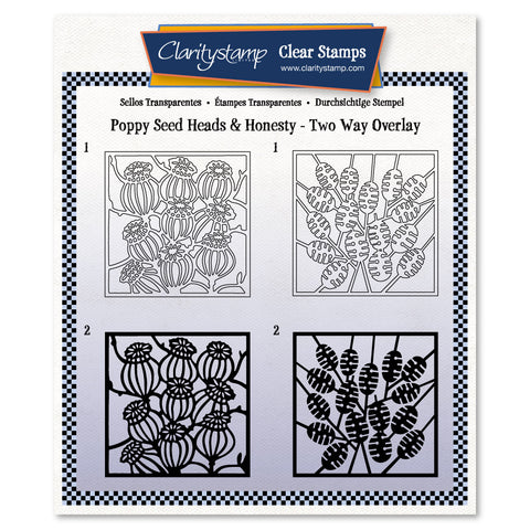 Botanical Poppy Seed Heads & Honesty<br/> Two-Way Overlay Stamp Set