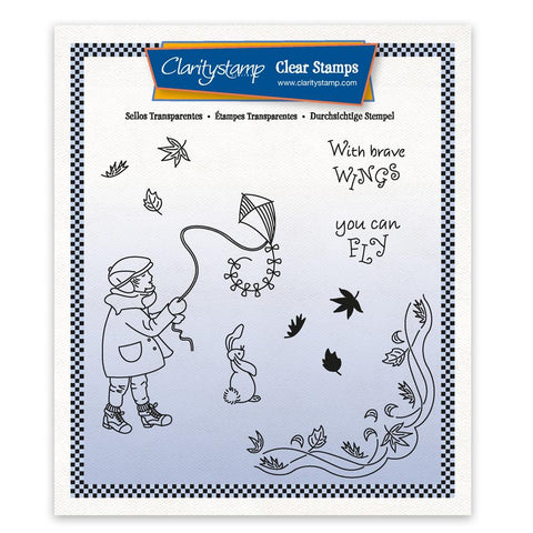 Linda's Children - Autumn - Boy with a Kite - A5 Square Stamp & Mask Set