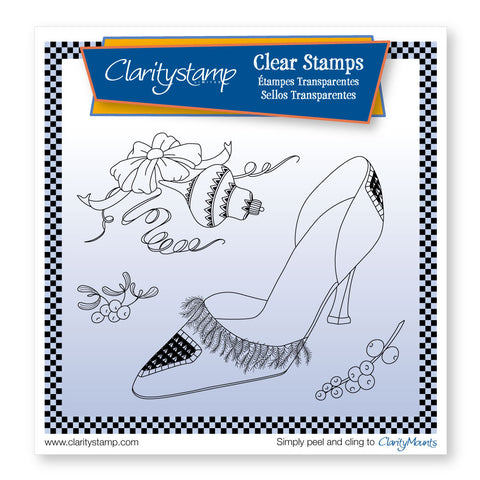 Cherries Stiletto Shoe and Bow <br/> A5 Sq Unmounted Stamp Set