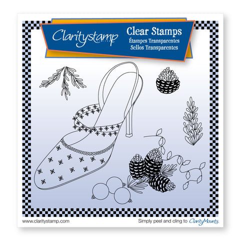 Cherries Stiletto Shoe and Pine Cones <br/> A5 Sq Unmounted Stamp Set
