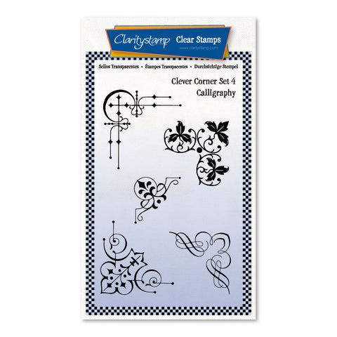 Clever Corners Set 4 - Calligraphy <br/> A6 Umounted Stamp Set