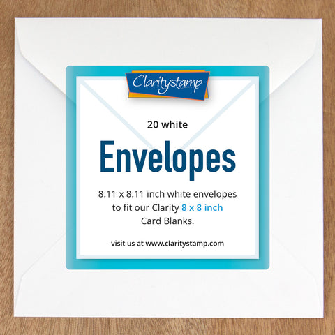 "White Envelopes for 8"" x 8"" Card Blanks x20"