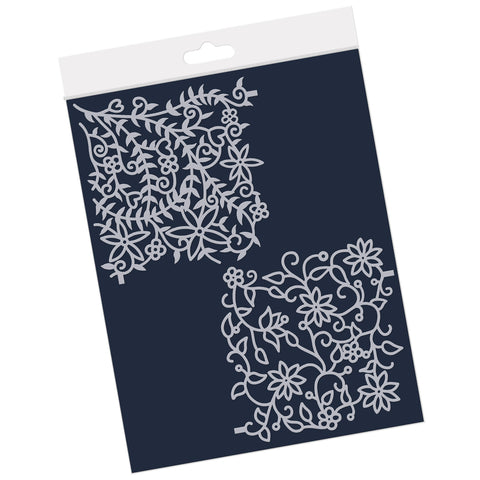 "Floral Forest & Flourish <br/> 4"" x 4""  Frameless Stencil Pair"