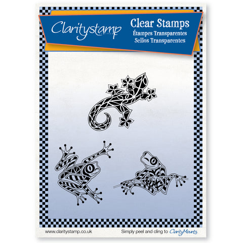 Frogs & Gecko <br/> Unmounted Clear Stamp Set