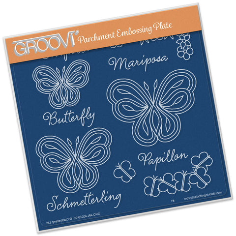 Butterflies with Words Groovi® Plate A5
