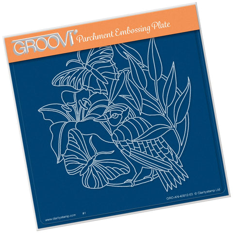 Leafy Butterflies & Bird <br/> A5 Square Groovi Plate
