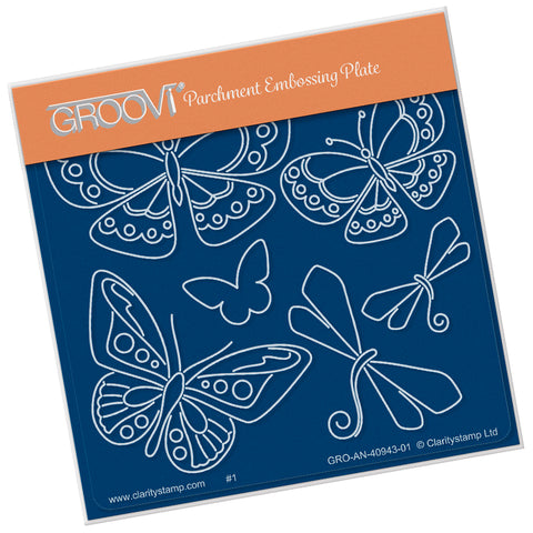 Tina's Butterfly Fun (PRE-ORDER) <br/> A6 Square Groovi Plate