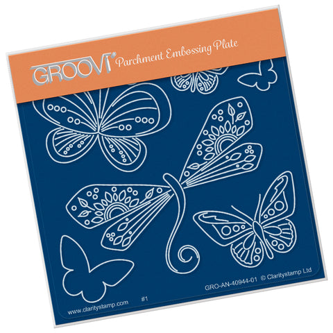 Tina's Dragonfly Fun (PRE-ORDER)  <br/> A6 Square Groovi Plate