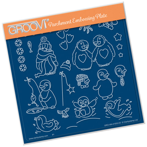 Linda Williams Penguins <br/> A5 Square Groovi Plate