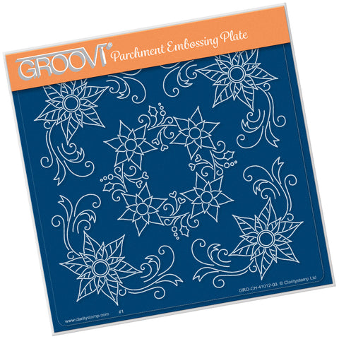 Tina's Poinsettia Frame <br/> A5 Square Groovi Plate