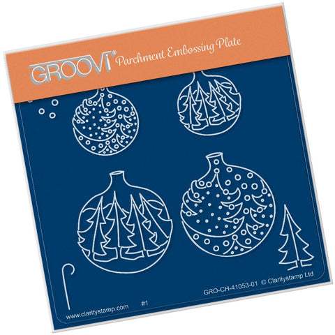 Christmas Tree Baubles <br/> A6 Square Groovi Plate