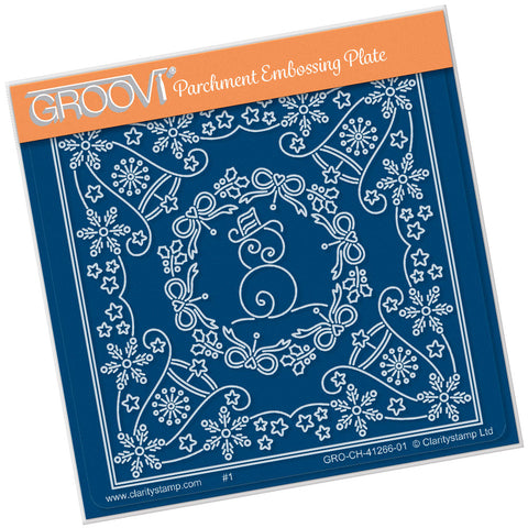 Tina's Christmas Snowman Parchlet <br/> A6 Square Groovi Plate