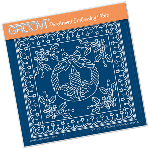 Tina's Christmas Candle Parchlet <br/> A6 Square Groovi Plate <br/>