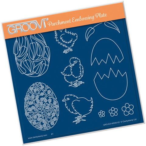 Ornate Eggs & Chicks <br/>Groovi Plate A5 Square