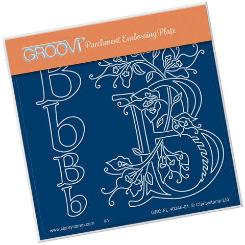 Barbara's Floral Alphabet - B <br/> A6 Square Groovi Plate