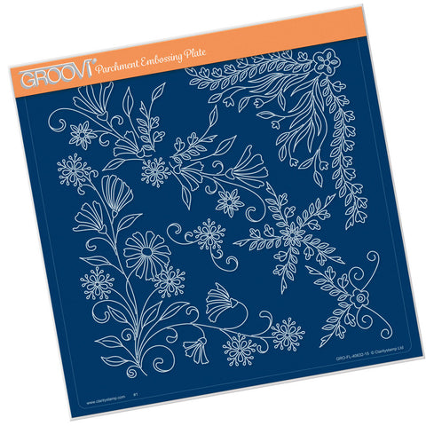 Tina's Floral Swirls & Corners 1 <br/>Groovi Plate A4 Square