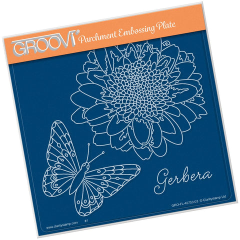 Gerbera & Butterfly <br/> A5 Square Groovi Plate