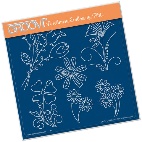 Tina's Flower Fun <br/> A5 Square Groovi Plate