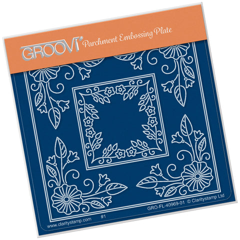 Tina's Morning Glory Flower Parchlet <br/> A6 Square Groovi Plate