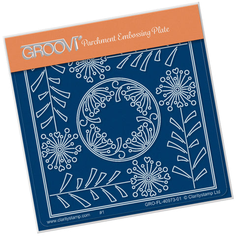 Tina's Alium Flower Parchlet <br/> A6 Square Groovi Plate