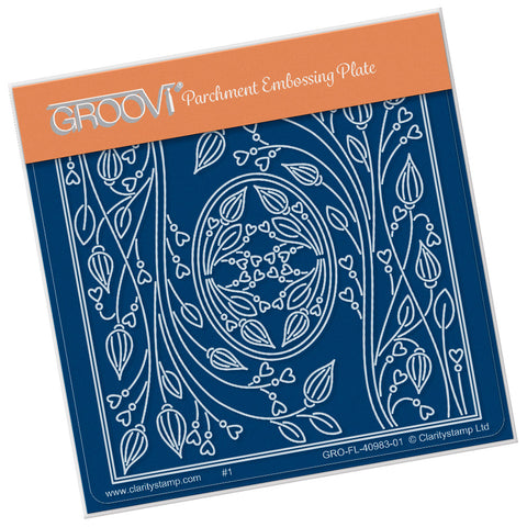 Tina's Oval Flower Parchlet <br/> A6 Square Groovi Plate