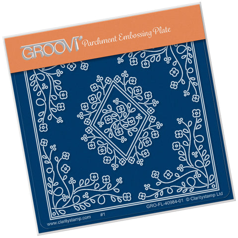 Tina's Diamond Flower Parchlet <br/> A6 Square Groovi Plate
