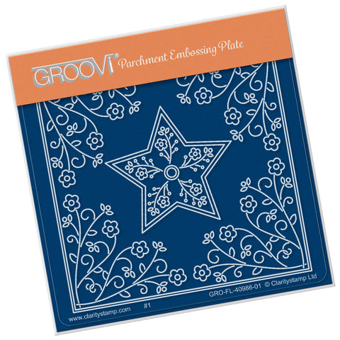 Tina's Star Flower Parchlet <br/> A6 Square Groovi Plate